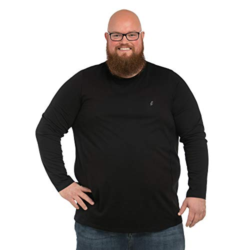 Alca Langarmshirt Mit Rundhalsausschnitt für Männer mit Übergröße Bauchumfang 1XL-8XL Herren Langarm-T-Shirt Mit Crew-Neck 7XL-B Schwarz