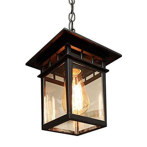Groß Pendelleuchte Schwarz Vintage Industrie E27 Hängelampe Aussen Innen Wasserdichte IP23 Aluminium Glas Pendellampe Pavillon Villa Grape Rack Balkon Lampen,24.5 * 28CM