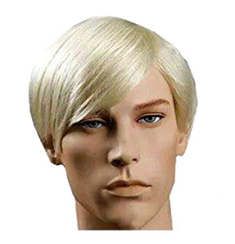 New Handsome Short Straight Men Wig Golden Blonde Color Halloween...
