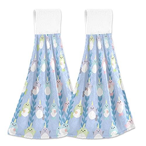 Toallas de cocina lindas toallas de mano de unicornio Pttern de pescado 2 piezas de secado rápido súper suave absorbente para colgar toalla de corbata para cocina, baño, inodoro y hogar 30,5 x 43,2 cm