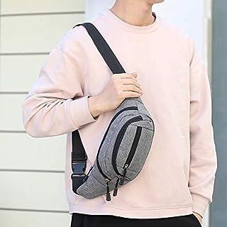 YKDY Shoulder Bag Pure Color Multi-Function Pockets Waterproof Chest Bag Waist Sports Bag (Black) (Color : Grey)