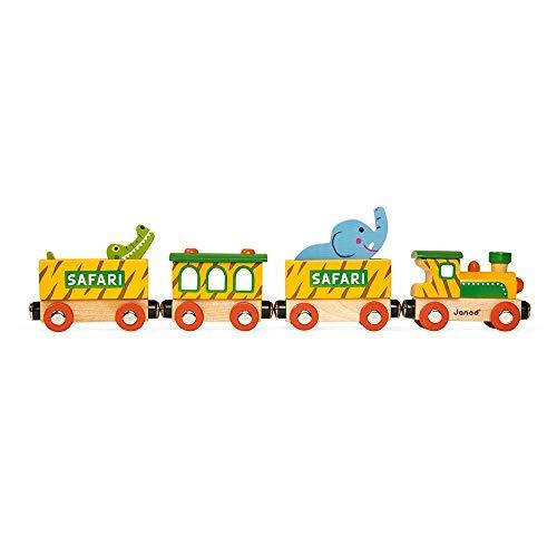 Janod - Train Safari Story - 6 Figurines en Bois - Jouet d'Imagination - Animaux de la Savane et Véhicules - Compatible avec les Rails Existants sur le Marché - Dès 3 ans, J08585