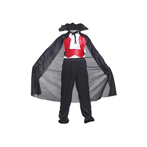 BESTOYARD Disfraz de vampiro para niños Disfraz de carnaval Disfraz de fiesta Disfraz vestido - Talla XL (negro)
