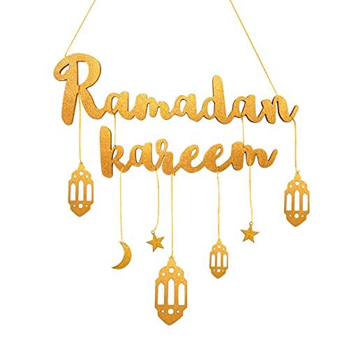 Sunshine smile Eid Mubarak - Colgante decorativo de madera (dorado)