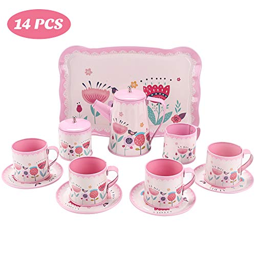 Coco Tree 14 Pieces Flower Birds Kids Tea Set, Pretend Play Toys for Kids, Children, Pink Tin Tea Party Set for Little Girls and Boys.