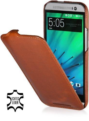 StilGut UltraSlim Hülle, Hülle Tasche aus Leder für HTC One M8, Cognac