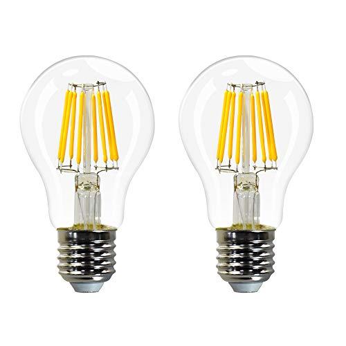 Standard A60 Lampe Ampoule Globe Edison a Filament LED E27 8W Transparent Blanc Chaud 2700K Remplace Ampoule Incandescente 60W Lot de 2 de Enuotek