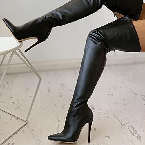 ZXCN Negro Sexy sobre Las Botas de la Rodilla Mujeres Tacones Altos Zapatos Damas Muslo Alto Botas de Primavera Botas largas Zapato Femenino