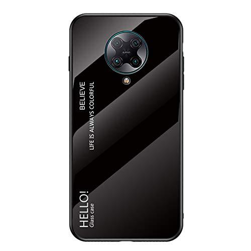 BRAND SET Funda para Xiaomi Redmi K30 Pro Respaldo de Vidrio Carcasa Diseño Degradado y Borde de Silicona TPU Resistente a los Golpes Fundas Protectora Carcasas para Xiaomi Redmi K30 Pro-Negro