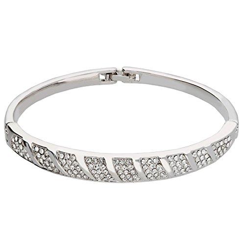 MYA art Damen Armband Armreif mit Swavorski Elements Strass Kristallen Steinen Vergoldet Silber Weiß Brautschmuck MYAWGARM-10