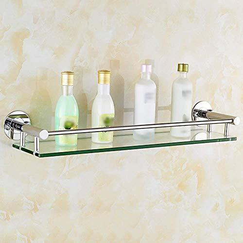 SED Estante de almacenamiento para baño Estante de vidrio para baño Soporte de pared, cepillado S304 Toallero de acero inoxidable Soporte para poste de hardware,44 cm / 17.3 pulgadas