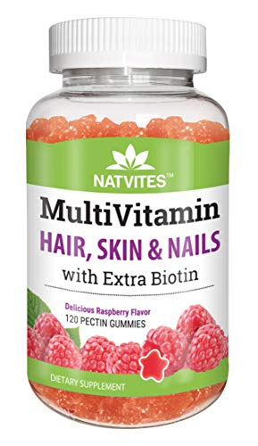 Natvites Multivitamin & Hair Skin & Nails with Extra Biotin Pectin Gummies for Adults 120Count