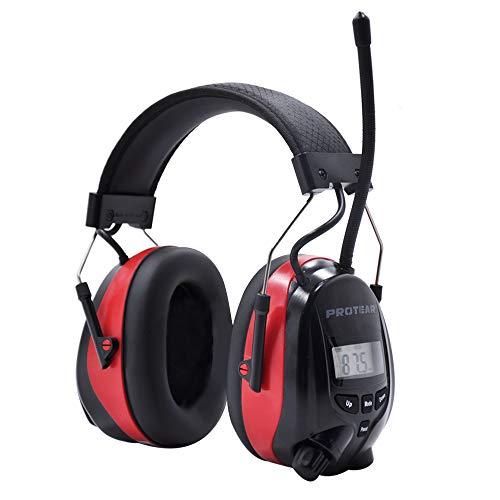 Gehörschutz mit Radio und Bluetooth, FM / AM-Digital-Radio und eingebautem Mikrofon, Protear Wiederaufladbare Lärmschutz-Ohrenschützer für Arbeits-und Industrie, SNR 30dB