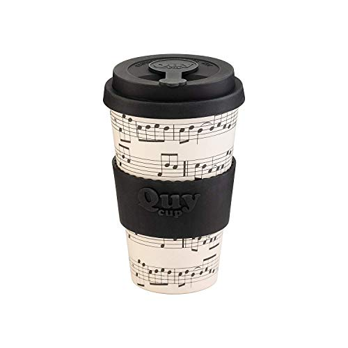 QUY CUP. Opera. Kaffeebecher to Go, Travel Mug, Bamboo Cup als Mehrweg Tasse für unterwegs, Coffee to go Becher, nachhaltiger Becher mit Deckel und Silikonmanschette, 400ml