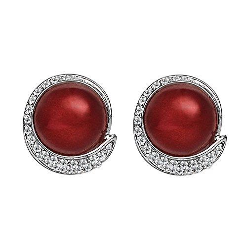 EVBEA Orecchini Clip Vintage Rosso Perla Finta Orecchini Moda Cristallo Diamante Fiore Orecchini per Donne con Scatola Regalo Mamma