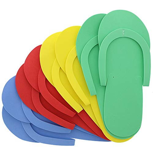 Juvale Pedicure Slippers, Disposable Flip Flops (48 Pairs), 4 Colors, One Size