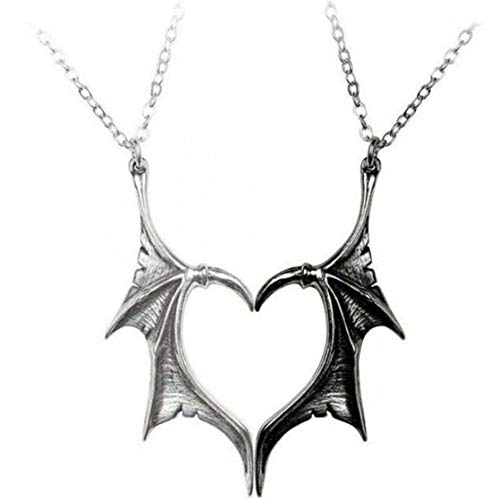 Wing Necklace for Women Men Charm Matching Demon Dragon Wing Love Heart Pendant Necklace Couple Family Friendship Necklace Jewelry Gift