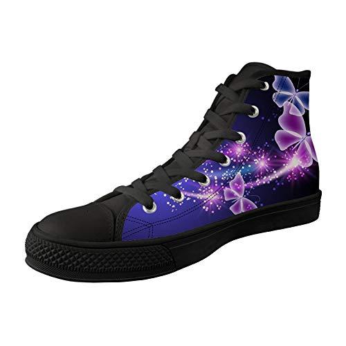 MODEGA Impresión De La Mariposa Zapato De Lona De Impresión Mariposa Blanca Zapatos Superiores Altos Zapatos Cómodos para Las