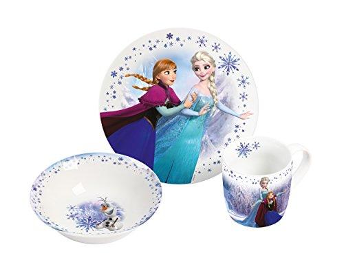 Disney Frozen 2017, 3teilig 3-teiliges Porzellanset, Porzellan, Mehrfarbig, 22.5 x 9.5 x 19.5 cm