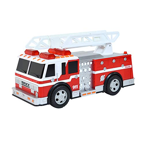 Sunny Days Entertainment Large Fire Truck – Lights and Sounds Vehicle with Extendable Ladder | Motorized Drive and Soft Grip Tires | Rescue Engine Toy for Kids – Maxx Action