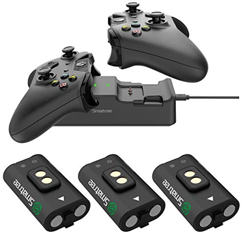 Smatree Rechargeable Battery 3 Packs with Dual Charging Station High Speed Docking Compatible for Xbox One/Xbox One X/Xbox One S/ Xbox One Elite Wireless Controller