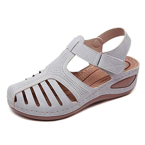 Meeshine Women's Summer Beach Wedge Sandals Bohemia Flip-Flop Ankle Strap Causal Gladiator Outdoor Shoes Grey US 9