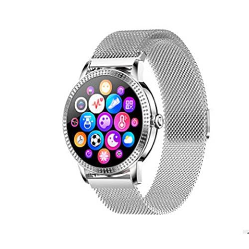 PYAIXF Reloj Inteligente, 1,1 Pulgadas Acero Inoxidable Rastreador De Fitness Avanzado Contador, Podómetro GPS Seguimiento De Natación hasta 7 Días De Duración De La Batería Silver