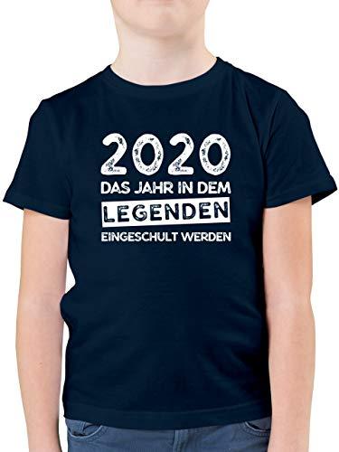 Einschulung und Schulanfang - 2020 Das Jahr in dem Legenden eingeschult Werden - 128 (7/8 Jahre) - Dunkelblau - Junge Einschulung grün - F130K - Kinder Tshirts und T-Shirt für Jungen