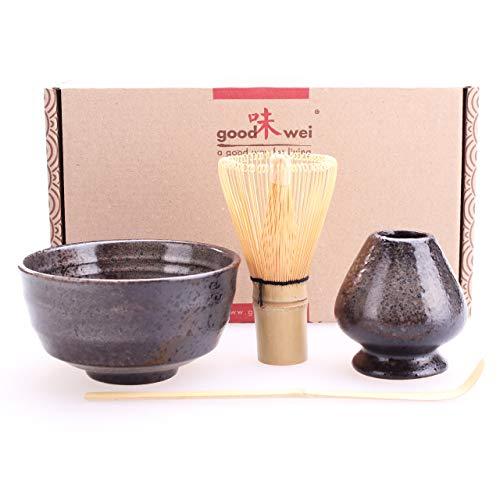 Goodwei Juego de té Matcha - Bol de té, batidor y Soporte Incl. Caja de Regalo (Goma)