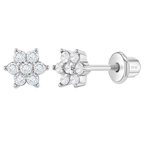 CZ Flower Screw Back Toddler Earrings by Season Jewelry