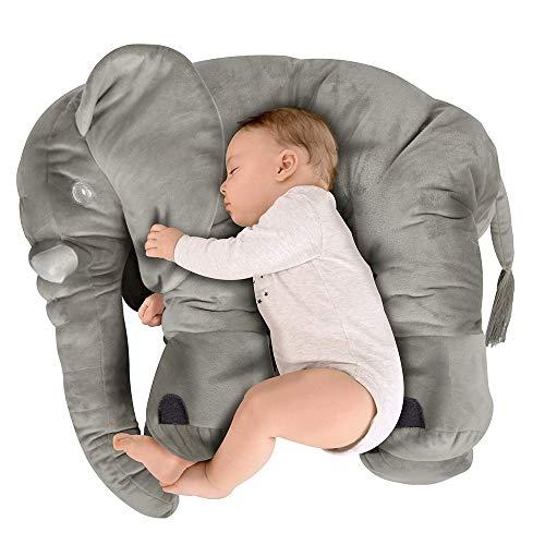 BEEWIES Premium Almohada Para Bebe de Elefante Muy Suave, Blando y Flexible de 65cm Para Usarse Como Juguetes Para Bebes Niño, Juguetes Para Niñas y Mesa de Regalos bebé. Elefante Para Bebe 100% Hecho en México