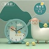 Reloj despertador para niños lindos suministro directo de fábrica dormitorio silencioso reloj luminoso junto a la cama dinosaurio lindo conejo estudiante reloj de dibujos animados-Kiss Sheep-Blue (5 p