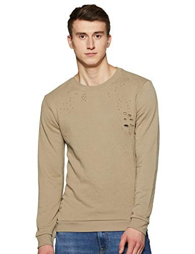 Forever 21 Men's Cotton Sweater (200463_Taupe_X-Small)