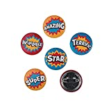Fun Express - Superhero Mini Buttons - Jewelry - Pins - Novelty Buttons - 48 Pieces