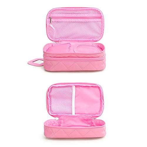 LiKin Trousse de toilette , Trousse de toilette pour dames Sac de lessive Lingge Étui en nylon imperméable de couleur solide (Couleur : Pink)