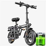 Bici electrica, Adultos Forma de Bicicleta eléctrica Vespa Velocidad máxima 25 kmh 48V24AH batería de Litio de Freno de Disco de 14 Pulgadas Llantas neumáticas (Color : Black, Size : Range: 500 km)