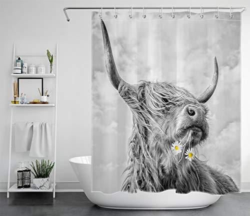 LB Hochland Kuh Duschvorhang 150x180cm Lustig Tiere Badewannenvorhang Grau Rinder Antischimmel Wasserdicht Polyester Stoff Badezimmer Gardinen mit Haken
