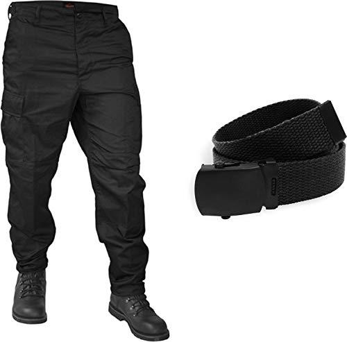 normani BDU Rangerhose Freizeithose mit originalem BDU Gürtel Farbe Schwarz Größe L