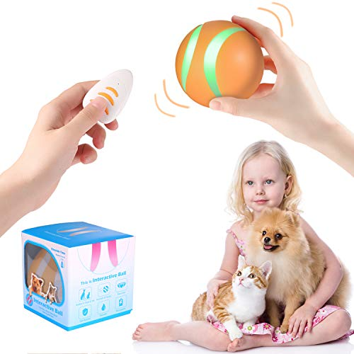 Smart Interactive Pet Toy Bounce Ball for Dog Cat Furry Family Puppy Kitten,1000mAh Battery,RGB Flashing LED Lights,360 Degree Auto Rolling/Turn Off,Washable Durable TPU Roller Wicked Toys(Orange)