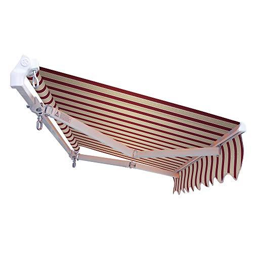 VERDELOOK Tenda da Sole Panarea avvolgibile, larghezza 3 m e sporgenza reclinabile fino a 2 m, beige e bordeaux