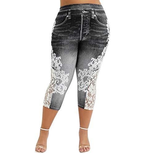 Calça jeans feminina Handyulong plus size elástica skinny rasgada jeans destruída slim lápis calça de moletom Jegging, Y-black, 4X-Large