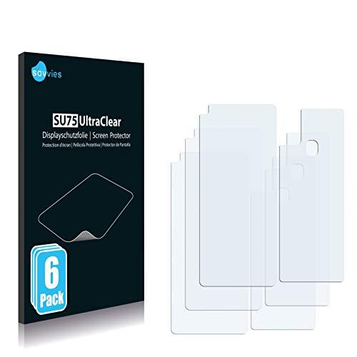 Savvies 6X Schutzfolie kompatibel mit Samsung Galaxy A21s (Vorder + Rückseite) Bildschirmschutz-Folie Ultra-transparent