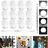 Hollywood Style LED Makeup Vanity Mirror Lights Kit with 12 Dimmable Light Bulbs,Plug in Flexible Lighting Fixture Strip for Bathroom Wall or Dressing Mirrors,Daylight (Mirror Not Included)