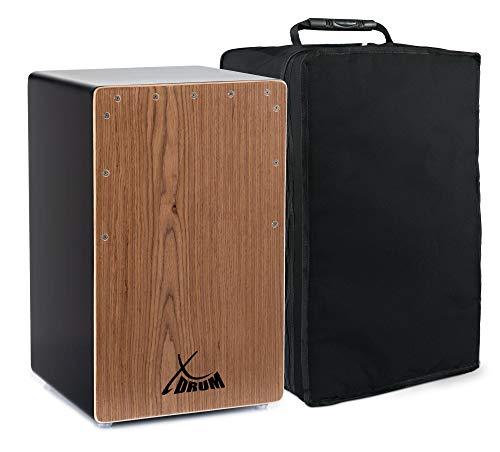 XDrum Cajon El Bajo Bass Port Black/Walnut - Integrierter Bass Port für druckvollen Sound - Trommelkiste für Percussion - Kistentrommel aus Holz - Inkl. Tragetasche