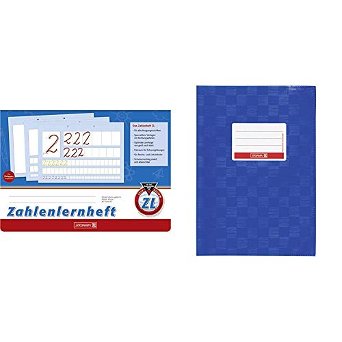 Brunnen 1044041 Zahlenlernheft ZL (A4, quer, Lineatur ZL, 16 Blatt) & 104052536 Hefthülle/Heftumschlag (A5, Folie, mit Namensschild) blau