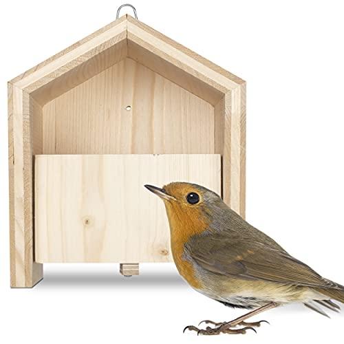 Gardigo Tier-Haus-System Nistkasten für Rotkehlchen | Made in Germany, aus Massivholz | In Sozialeinrichtung gefertigt