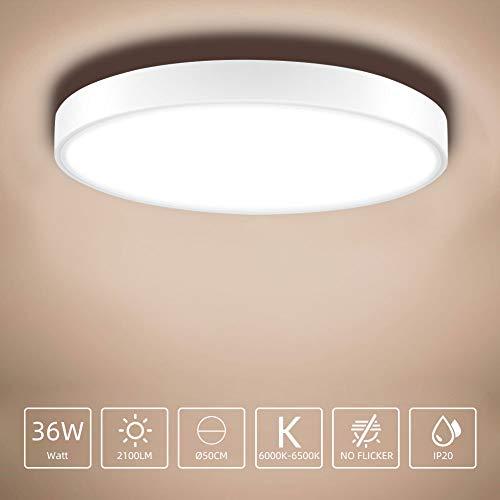 Sararoom Deckenlampe, LED Deckenleuchte 36W, 2100LM, Ø50cm, Warmweiß 2800K-3200K LED Deckenleuchte Rund IP20 Wasserdicht für Badezimmer, Schlafzimmer, Küche, Balkon, Korridor, Büro, Wohnzimmer