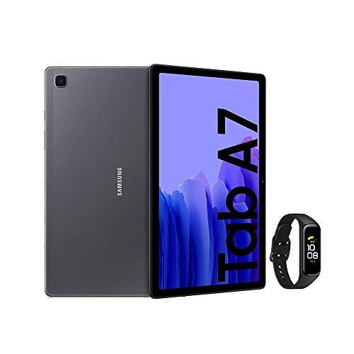 Samsung Galaxy Tab A7 - Tablet de 10.4' FullHD, Color Gris + Galaxy Fit2 - Monitor de frecuencia cardíaca, Color Negro