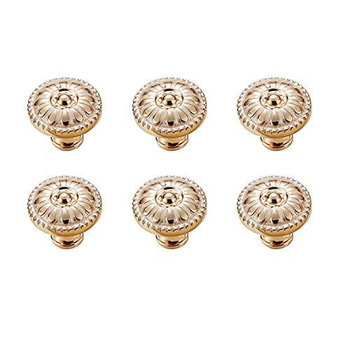 LINVINC 6 Pezzi Pomelli per Cassetti - Pomello Per Mobili Manopole Maniglie per Cassetti Comodino Maniglia per Mobili in Lega di Zinco - Oro