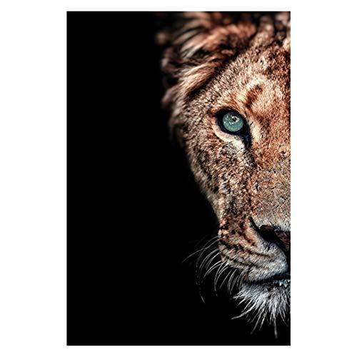CCZWVH LIONS AFRICANOS MEDIOS COSA POSTROS E LIMPISTAS PISTRUCTURA MODERNA DE ANIMAL MODERNO PISTO NORDICA EN LA PINTURA ARTE DE LDAN PARA LA DECORIA DE LA SUICIÓN DE LA SUPERIOR 20X28UTH X2 Sin Marco